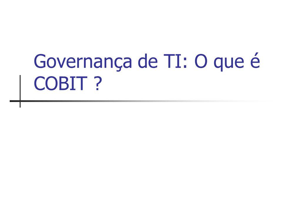 Agenda Governança de TI Metodologia COBIT Relacionamento do COBIT com os modelos de melhores práticas Governança de TI em 2006 Estudo de Caso Referências