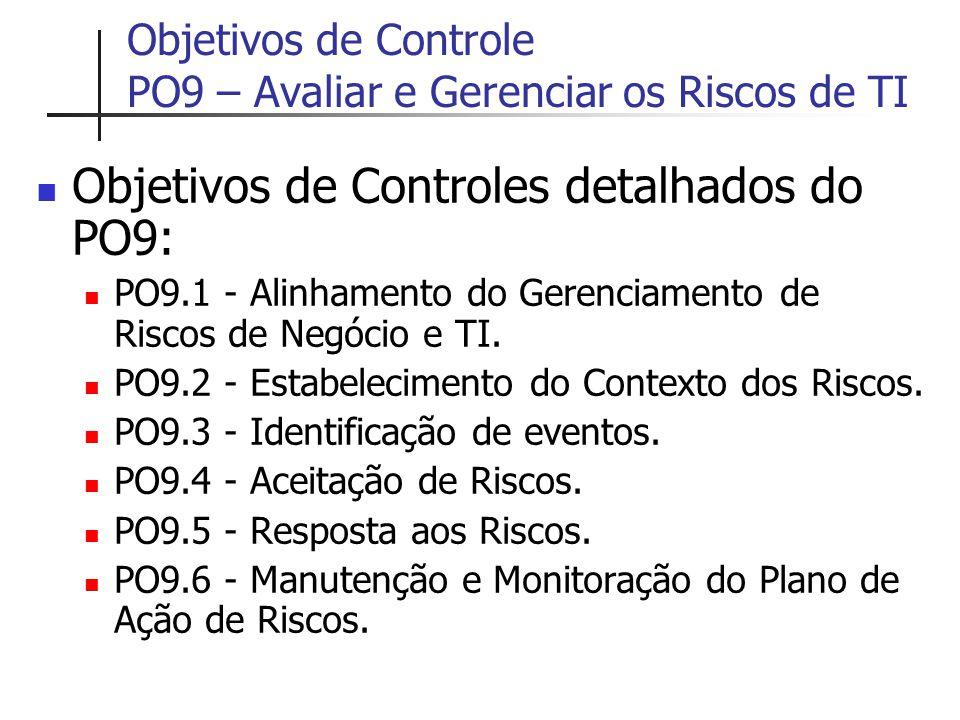 Objetivos de Controle PO9 – Avaliar e Gerenciar os Riscos de TI Objetivos de Controles detalhados do PO9: PO9.1 - Alinhamento do Gerenciamento de Risc