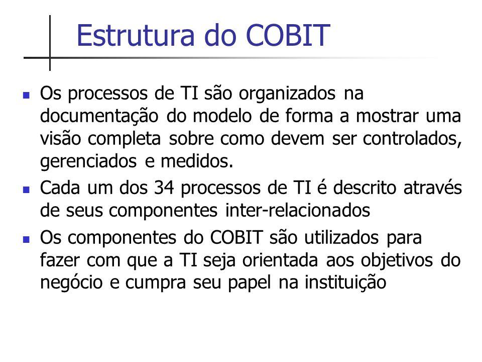 Estrutura do COBIT Os processos de TI são organizados na documentação do modelo de forma a mostrar uma visão completa sobre como devem ser controlados