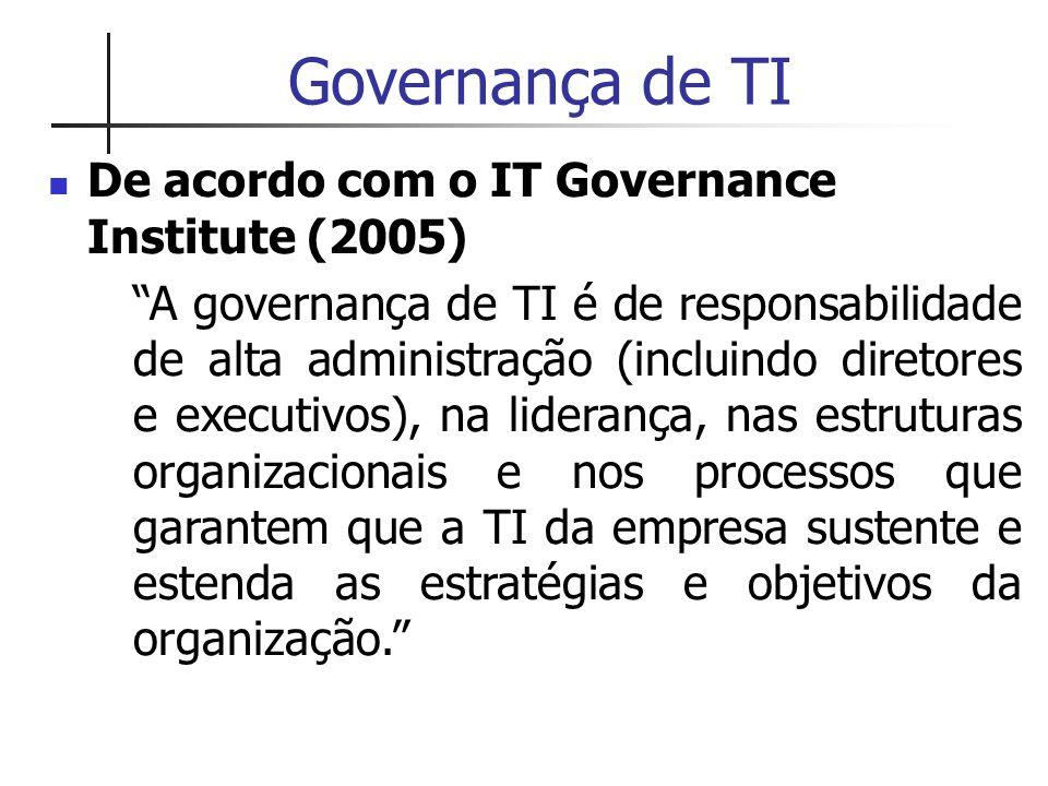"""Governança de TI De acordo com o IT Governance Institute (2005) """"A governança de TI é de responsabilidade de alta administração (incluindo diretores e"""