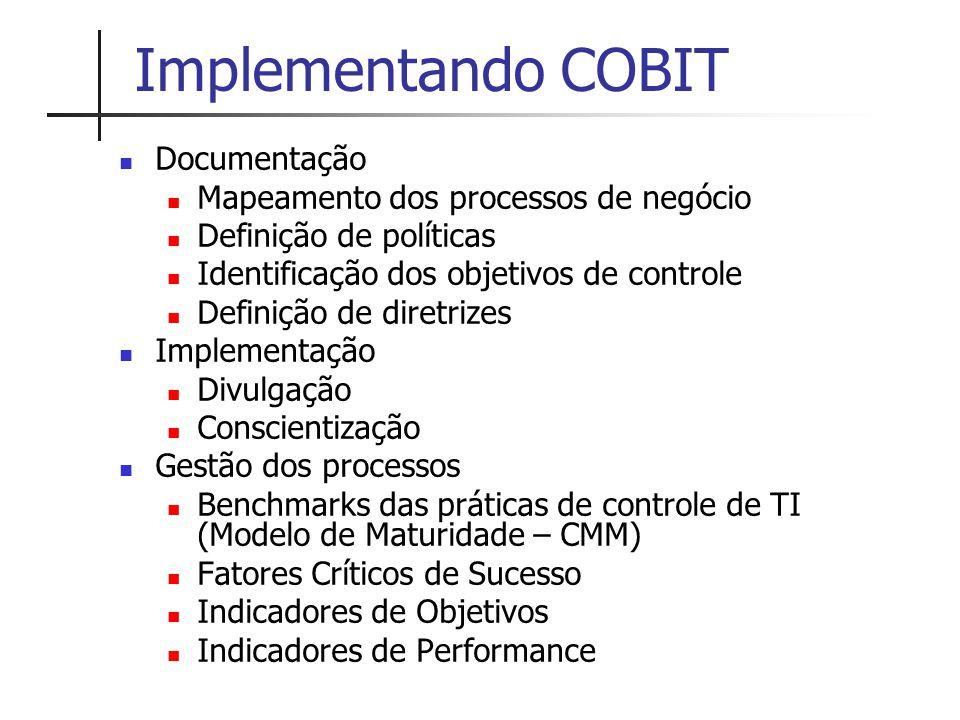 Implementando COBIT Documentação Mapeamento dos processos de negócio Definição de políticas Identificação dos objetivos de controle Definição de diret