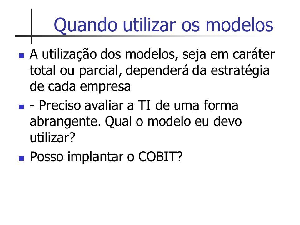 Quando utilizar os modelos A utilização dos modelos, seja em caráter total ou parcial, dependerá da estratégia de cada empresa - Preciso avaliar a TI