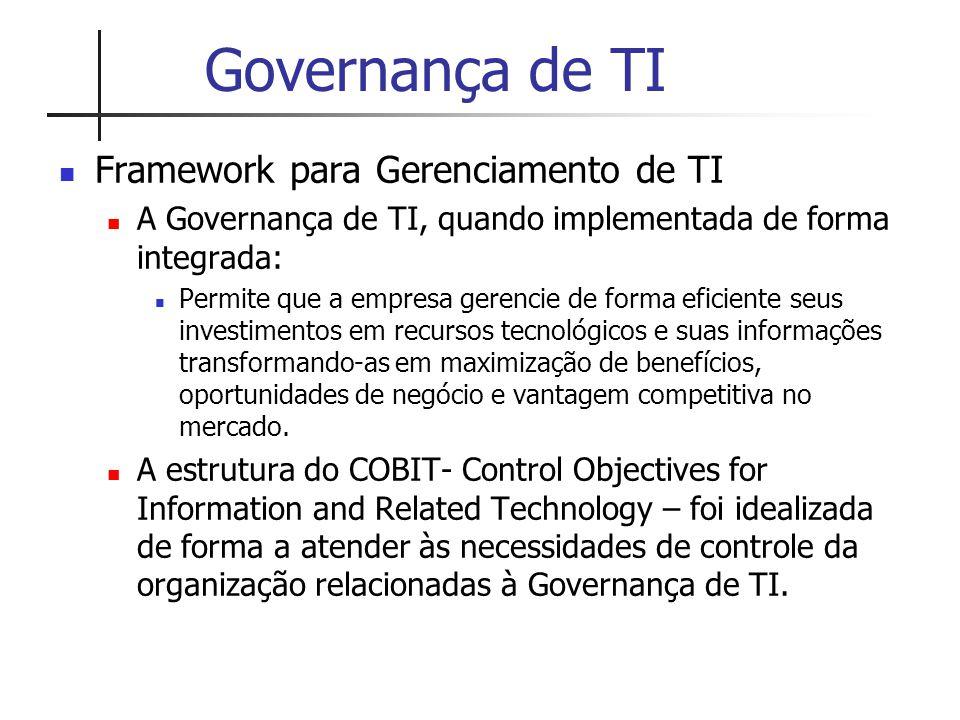 Estrutura do COBIT Metas e medições de desempenho Indicadores-Chave de Metas (KGIs) Definem as medições que informam à gerência se um processo de TI atingiu os objetivos de negócio; Indicadores-Chave de Desempenho (KPIs) Definem as medições que informam à gerência o quanto os processos de TI estão sendo bem executados no sentido de viabilizar o atendimento dos objetivos de negócio.