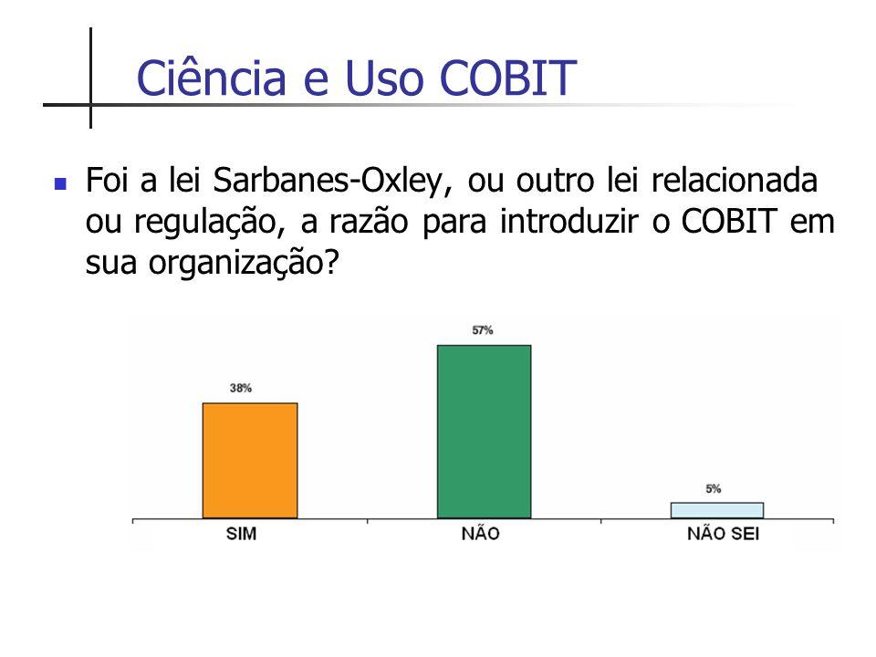 Ciência e Uso COBIT Foi a lei Sarbanes-Oxley, ou outro lei relacionada ou regulação, a razão para introduzir o COBIT em sua organização?
