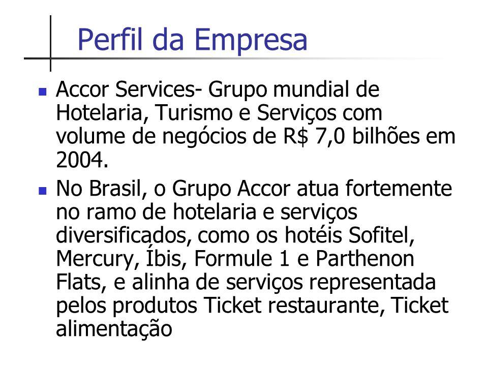 Perfil da Empresa Accor Services- Grupo mundial de Hotelaria, Turismo e Serviços com volume de negócios de R$ 7,0 bilhões em 2004. No Brasil, o Grupo