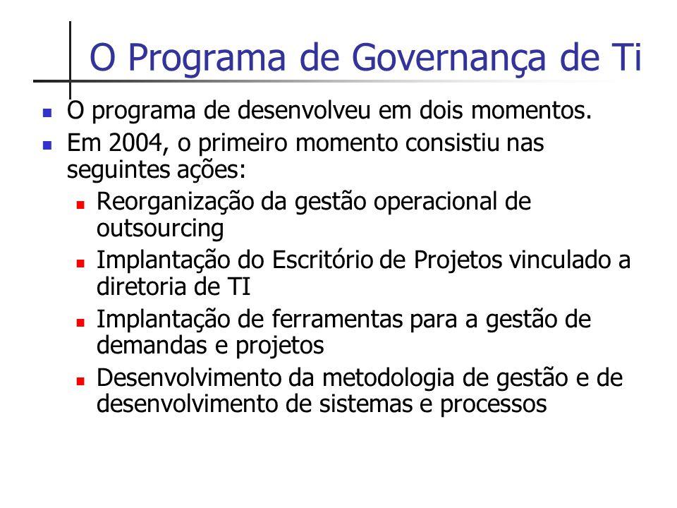 O Programa de Governança de Ti O programa de desenvolveu em dois momentos. Em 2004, o primeiro momento consistiu nas seguintes ações: Reorganização da