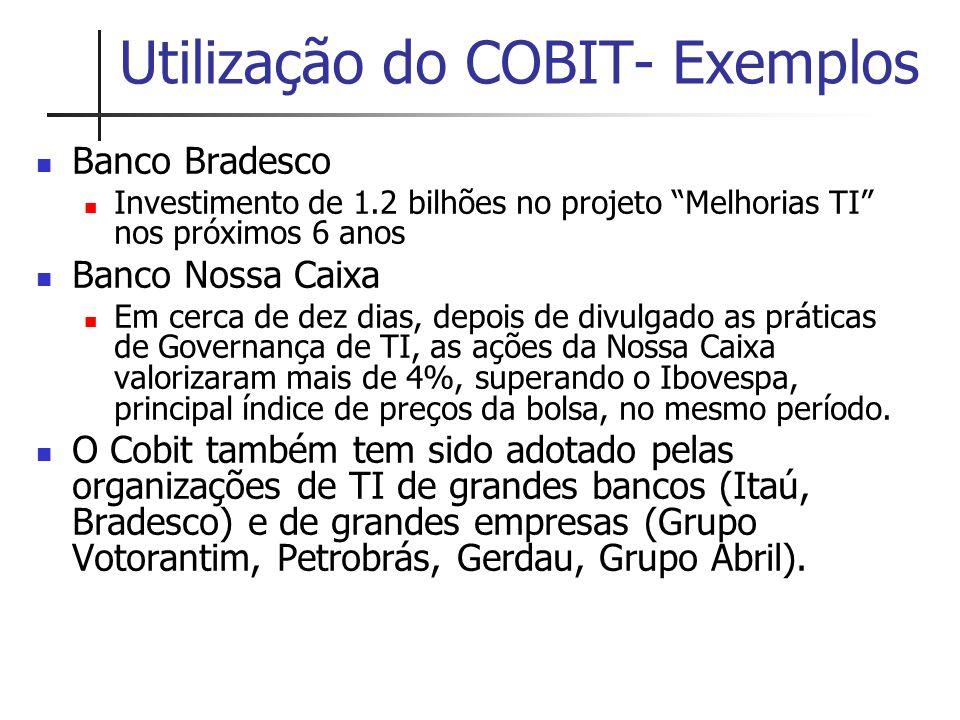 """Utilização do COBIT- Exemplos Banco Bradesco Investimento de 1.2 bilhões no projeto """"Melhorias TI"""" nos próximos 6 anos Banco Nossa Caixa Em cerca de d"""