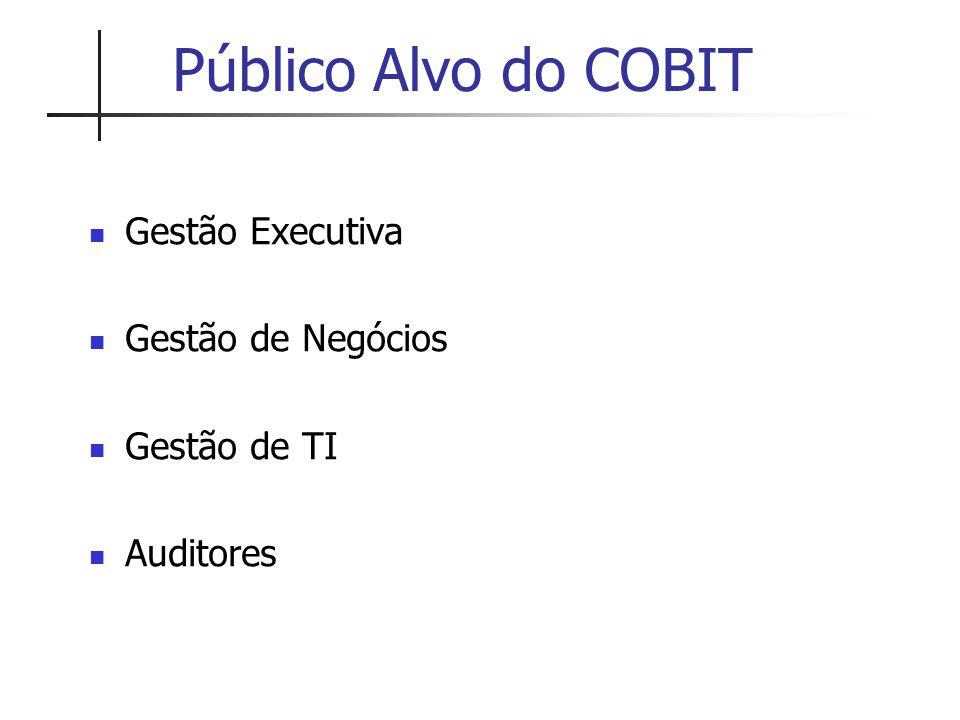 Público Alvo do COBIT Gestão Executiva Gestão de Negócios Gestão de TI Auditores