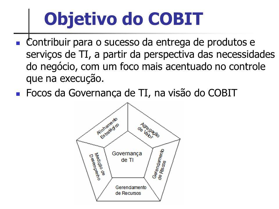 Objetivo do COBIT Contribuir para o sucesso da entrega de produtos e serviços de TI, a partir da perspectiva das necessidades do negócio, com um foco