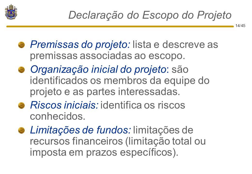 14/45 Declaração do Escopo do Projeto Premissas do projeto: lista e descreve as premissas associadas ao escopo. Organização inicial do projeto: são id