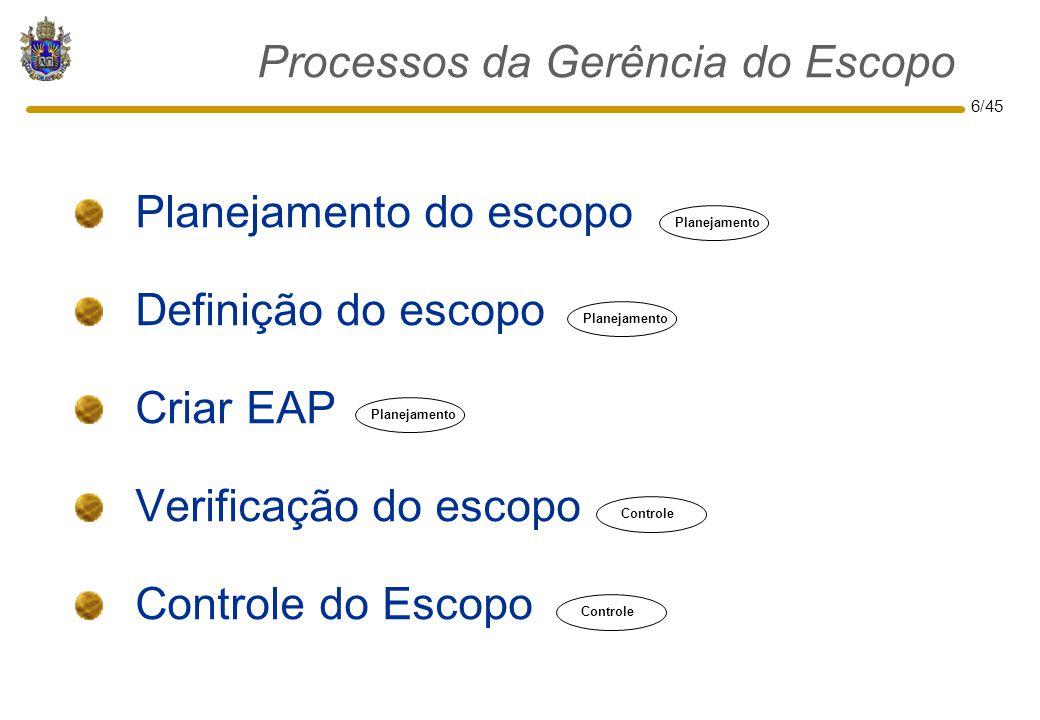 6/45 Planejamento do escopo Definição do escopo Criar EAP Verificação do escopo Controle do Escopo Processos da Gerência do Escopo Planejamento Contro