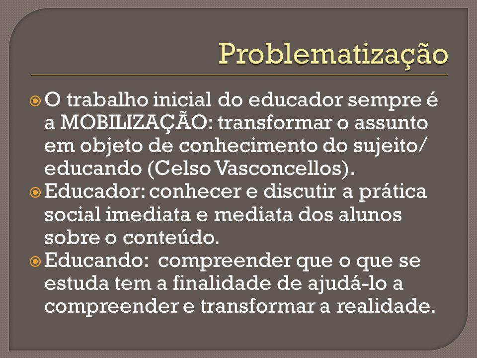  O trabalho inicial do educador sempre é a MOBILIZAÇÃO: transformar o assunto em objeto de conhecimento do sujeito/ educando (Celso Vasconcellos).