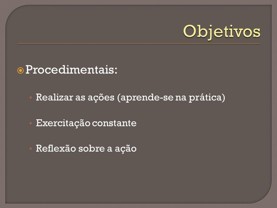  Procedimentais: Realizar as ações (aprende-se na prática) Exercitação constante Reflexão sobre a ação