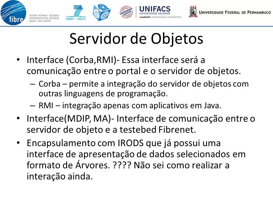 Servidor de Objetos Interface (Corba,RMI)- Essa interface será a comunicação entre o portal e o servidor de objetos.