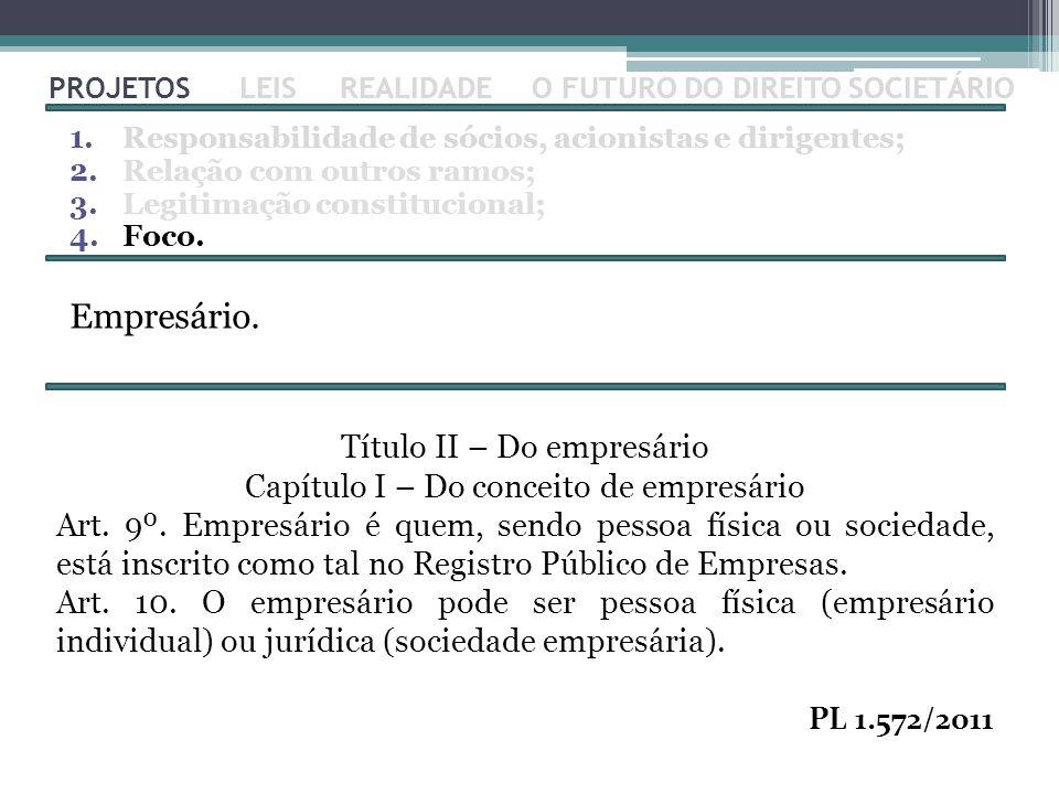PROJETOS 1.Responsabilidade de sócios, acionistas e dirigentes; 2.Relação com outros ramos; 3.Legitimação constitucional; 4.Foco. LEISREALIDADEO FUTUR