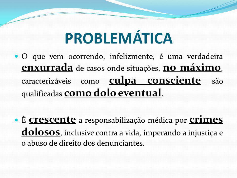 PROBLEMÁTICA O que vem ocorrendo, infelizmente, é uma verdadeira enxurrada de casos onde situações, no máximo, caracterizáveis como culpa consciente s