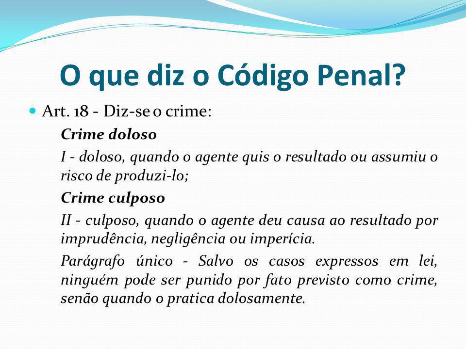 O que diz o Código Penal? Art. 18 - Diz-se o crime: Crime doloso I - doloso, quando o agente quis o resultado ou assumiu o risco de produzi-lo; Crime