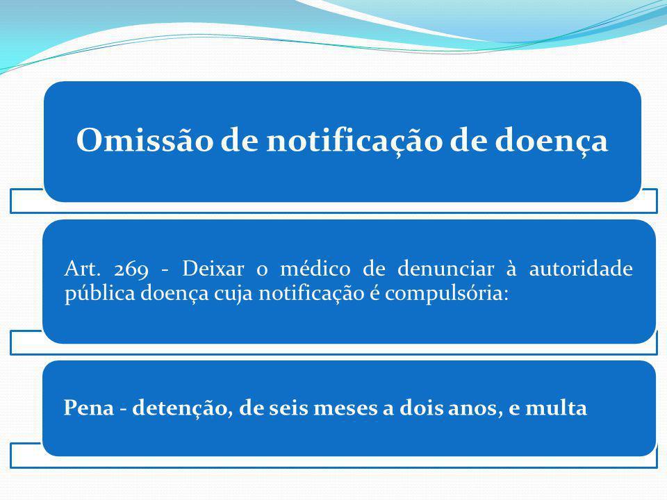 Omissão de notificação de doença Art. 269 - Deixar o médico de denunciar à autoridade pública doença cuja notificação é compulsória: Pena - detenção,