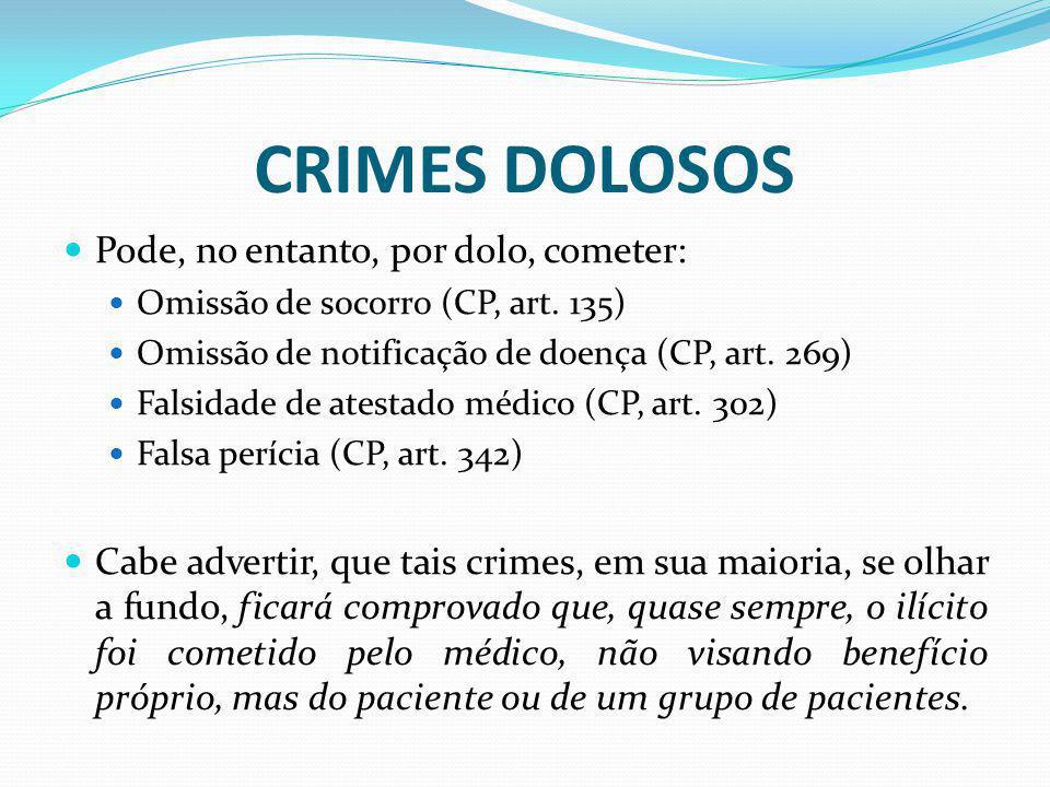 CRIMES DOLOSOS Pode, no entanto, por dolo, cometer: Omissão de socorro (CP, art. 135) Omissão de notificação de doença (CP, art. 269) Falsidade de ate