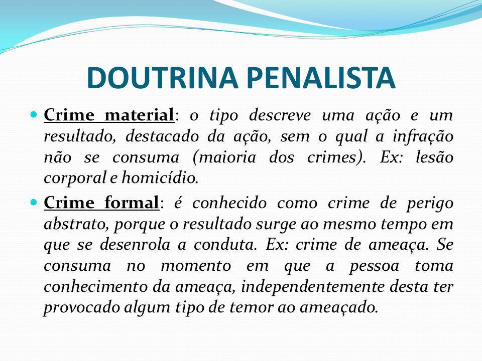 DOUTRINA PENALISTA Crime material: o tipo descreve uma ação e um resultado, destacado da ação, sem o qual a infração não se consuma (maioria dos crime