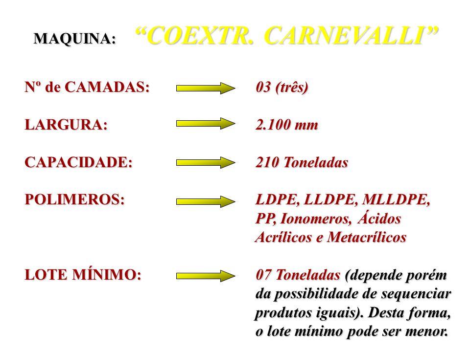 Nº de CAMADAS: 03 (três) Nº de CAMADAS: 03 (três) LARGURA: 2.100 mm LARGURA: 2.100 mm CAPACIDADE: 240 Toneladas CAPACIDADE: 240 Toneladas POLIMEROS: L