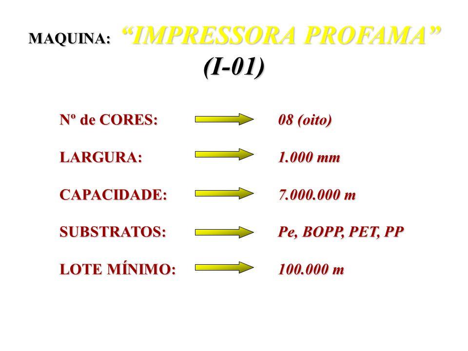 Nº de CORES: 08 (oito) LARGURA: 1.000 mm CAPACIDADE: 7.000.000 m SUBSTRATOS: Pe, BOPP, PET, PP LOTE MÍNIMO: 100.000 m MAQUINA: IMPRESSORA PROFAMA (I-01)