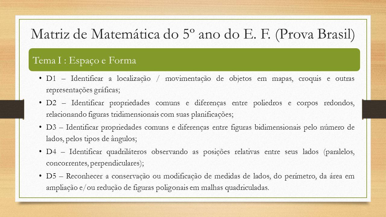 Matriz de Matemática do 5º ano do E. F. (Prova Brasil) Tema I : Espaço e Forma D1 – Identificar a localização / movimentação de objetos em mapas, croq
