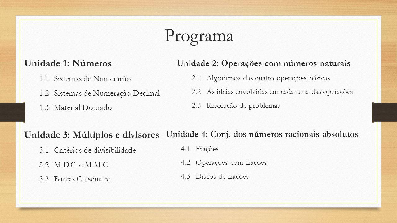 Programa Unidade 1: Números 1.1Sistemas de Numeração 1.2Sistemas de Numeração Decimal 1.3Material Dourado Unidade 2: Operações com números naturais 2.