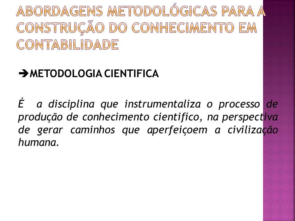  METODOLOGIA CIENTIFICA É a disciplina que instrumentaliza o processo de produção de conhecimento cientifico, na perspectiva de gerar caminhos que ap