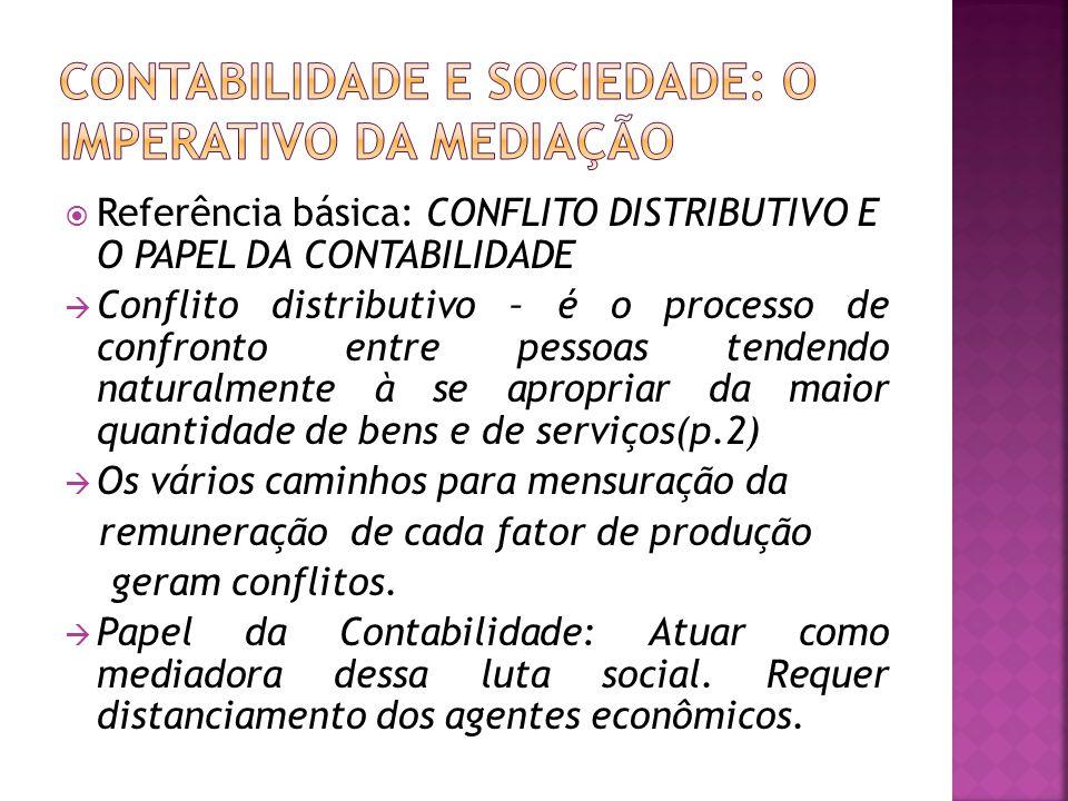  Referência básica: CONFLITO DISTRIBUTIVO E O PAPEL DA CONTABILIDADE  Conflito distributivo – é o processo de confronto entre pessoas tendendo natur