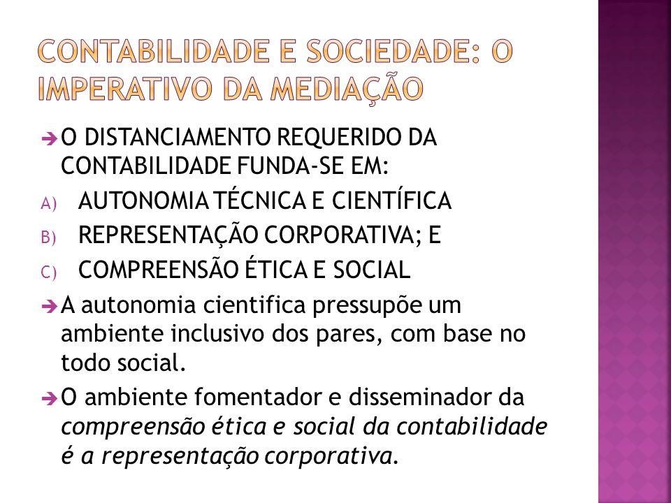  O DISTANCIAMENTO REQUERIDO DA CONTABILIDADE FUNDA-SE EM: A) AUTONOMIA TÉCNICA E CIENTÍFICA B) REPRESENTAÇÃO CORPORATIVA; E C) COMPREENSÃO ÉTICA E SO