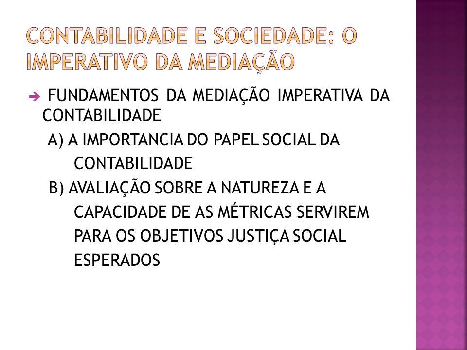  FUNDAMENTOS DA MEDIAÇÃO IMPERATIVA DA CONTABILIDADE A) A IMPORTANCIA DO PAPEL SOCIAL DA CONTABILIDADE B) AVALIAÇÃO SOBRE A NATUREZA E A CAPACIDADE D