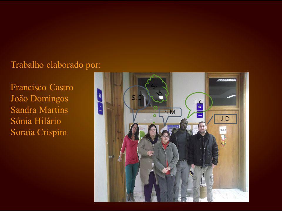 Trabalho elaborado por: Francisco Castro João Domingos Sandra Martins Sónia Hilário Soraia Crispim F.C S. H J.D S.M S.C