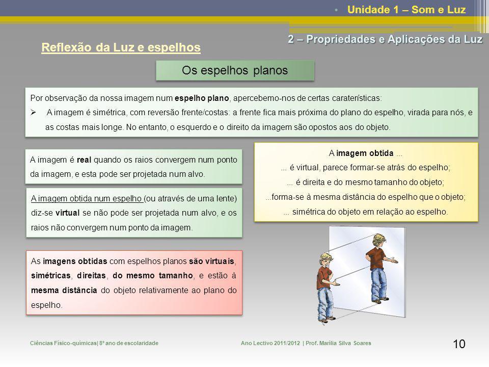Unidade 1 – Som e Luz Ciências Físico-químicas| 8º ano de escolaridadeAno Lectivo 2011/2012 | Prof. Marília Silva Soares 10 Reflexão da Luz e espelhos