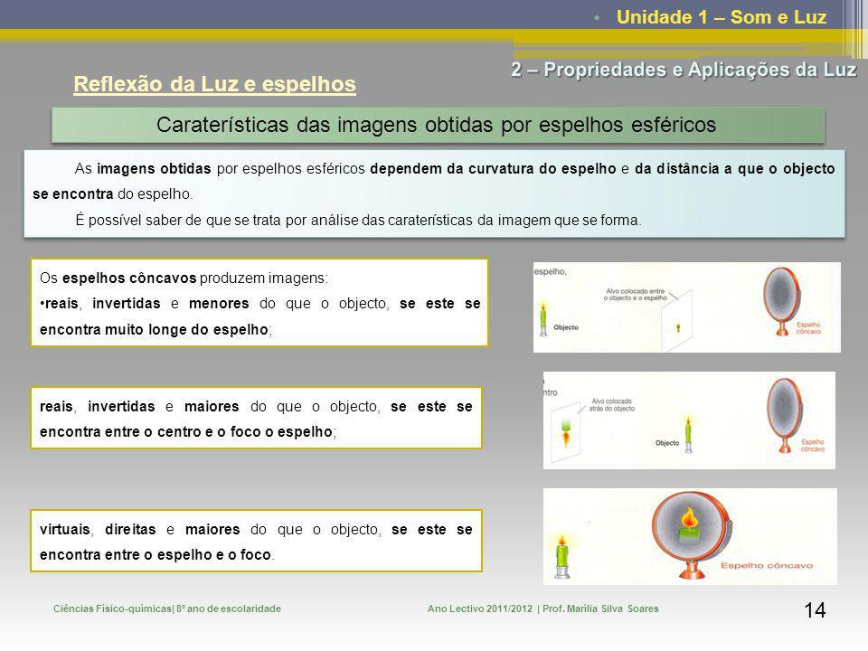 Unidade 1 – Som e Luz Ciências Físico-químicas| 8º ano de escolaridadeAno Lectivo 2011/2012 | Prof. Marília Silva Soares 14 Reflexão da Luz e espelhos