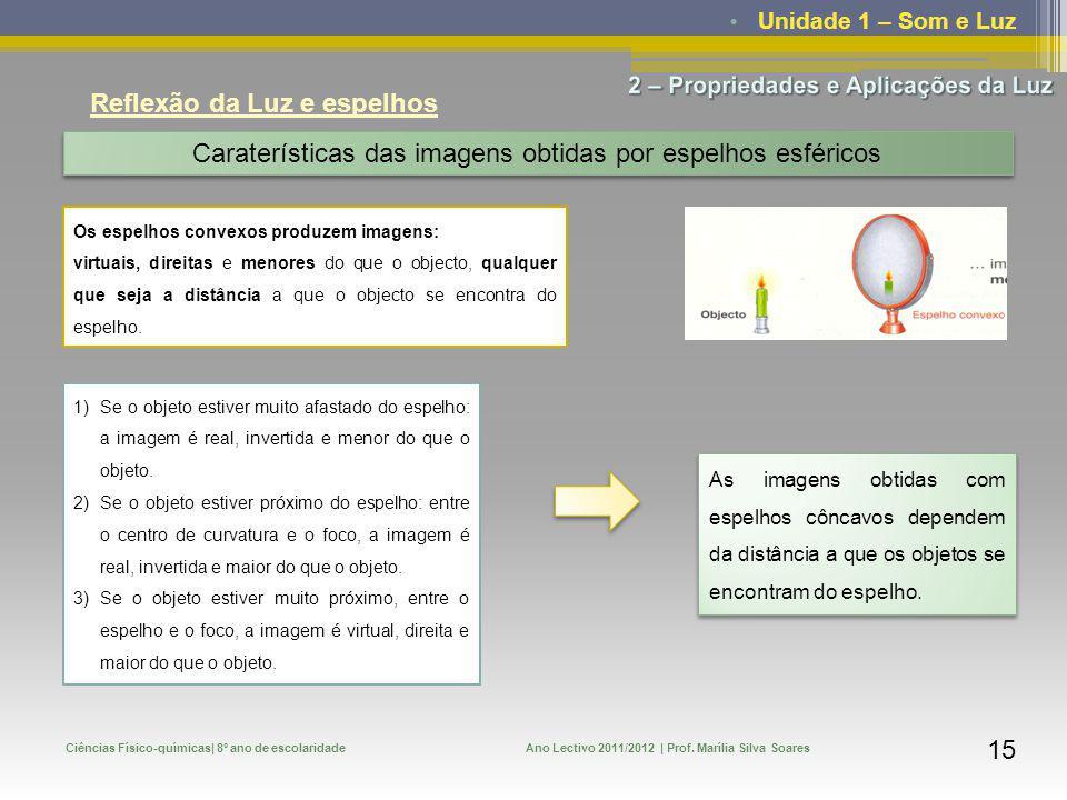 Unidade 1 – Som e Luz Ciências Físico-químicas| 8º ano de escolaridadeAno Lectivo 2011/2012 | Prof. Marília Silva Soares 15 Reflexão da Luz e espelhos