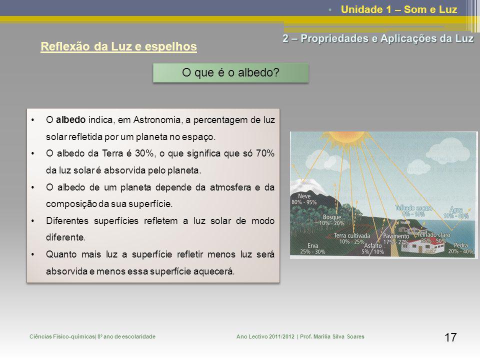 Unidade 1 – Som e Luz Ciências Físico-químicas| 8º ano de escolaridadeAno Lectivo 2011/2012 | Prof. Marília Silva Soares 17 Reflexão da Luz e espelhos