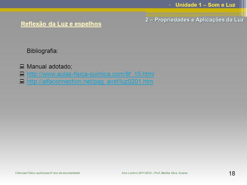 Unidade 1 – Som e Luz Ciências Físico-químicas| 8º ano de escolaridadeAno Lectivo 2011/2012 | Prof. Marília Silva Soares 18 Reflexão da Luz e espelhos