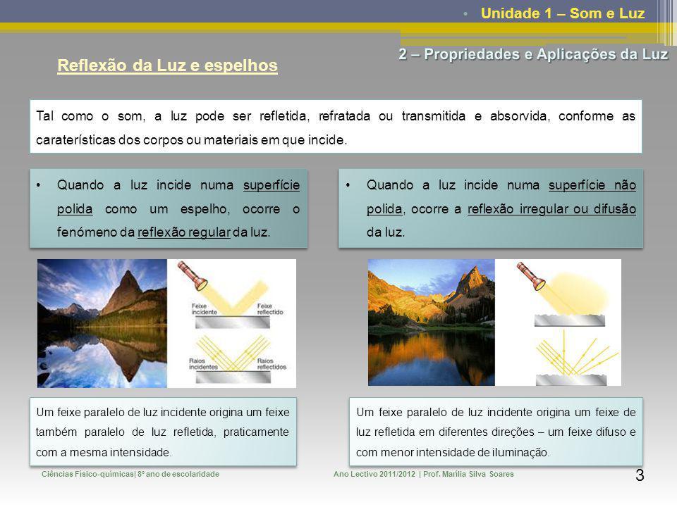 Unidade 1 – Som e Luz Ciências Físico-químicas| 8º ano de escolaridadeAno Lectivo 2011/2012 | Prof. Marília Silva Soares 3 Reflexão da Luz e espelhos