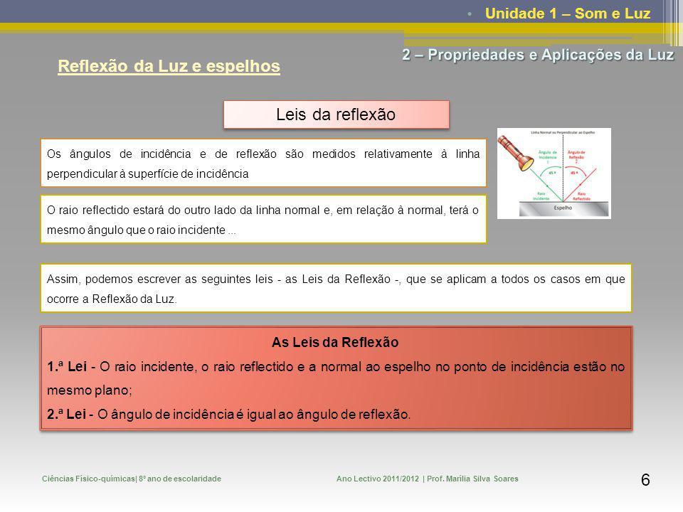 Unidade 1 – Som e Luz Ciências Físico-químicas| 8º ano de escolaridadeAno Lectivo 2011/2012 | Prof. Marília Silva Soares 6 Reflexão da Luz e espelhos