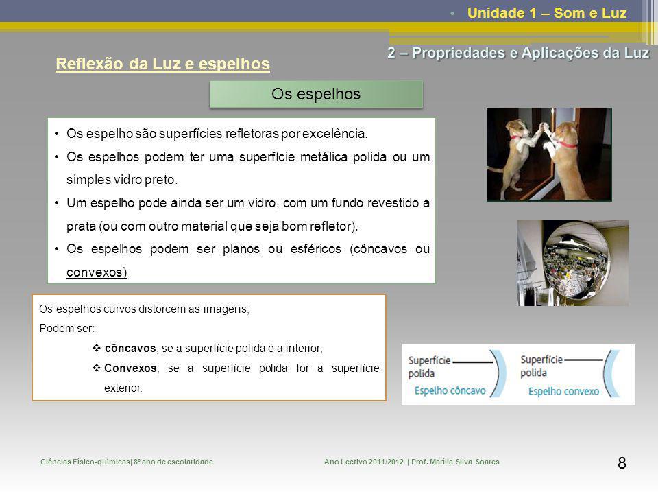 Unidade 1 – Som e Luz Ciências Físico-químicas| 8º ano de escolaridadeAno Lectivo 2011/2012 | Prof. Marília Silva Soares 8 Reflexão da Luz e espelhos