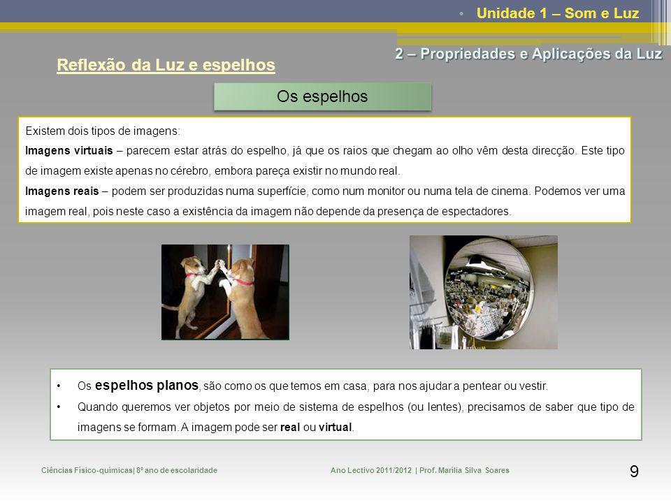 Unidade 1 – Som e Luz Ciências Físico-químicas| 8º ano de escolaridadeAno Lectivo 2011/2012 | Prof. Marília Silva Soares 9 Reflexão da Luz e espelhos