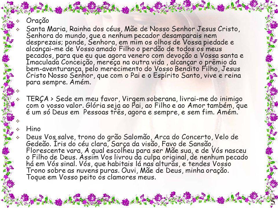 Oração do Ofício da Imaculada Artista: www.cançãonova.com Formatação: Ana Delia www.salvaialmas.com.br Visitem o site: Para baixar mais pps acessar o site abaixo: www.recados.aarao.nom.br/ Para participar do GRUPO VIRTUAL ROSA MÍSTICA ENTRE AQUI http://br.groups.yahoo.com/group/gruporosamistica2/