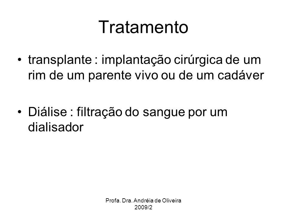 Profa. Dra. Andréia de Oliveira 2009/2 Tratamento transplante : implantação cirúrgica de um rim de um parente vivo ou de um cadáver Diálise : filtraçã
