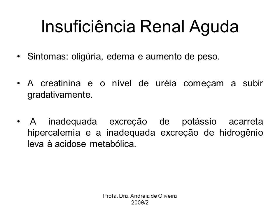 Profa. Dra. Andréia de Oliveira 2009/2 Insuficiência Renal Aguda Sintomas: oligúria, edema e aumento de peso. A creatinina e o nível de uréia começam