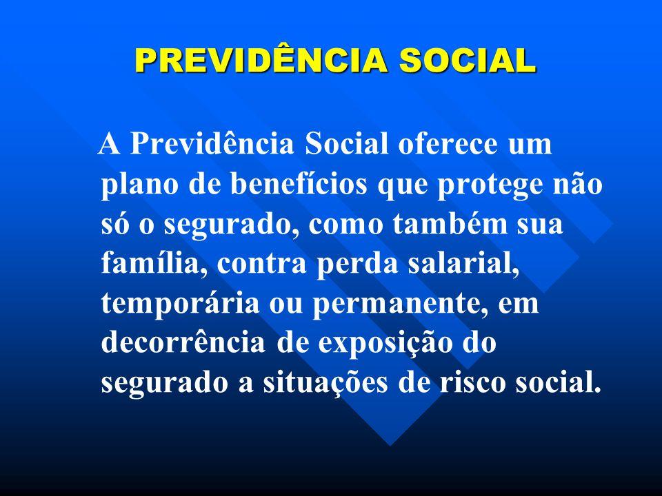 PREVIDÊNCIA SOCIAL PREVIDÊNCIA SOCIAL A Previdência Social oferece um plano de benefícios que protege não só o segurado, como também sua família, contra perda salarial, temporária ou permanente, em decorrência de exposição do segurado a situações de risco social.