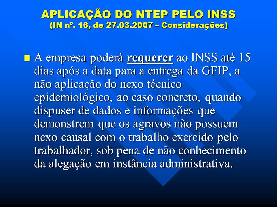 APLICAÇÃO DO NTEP PELO INSS (IN nº.