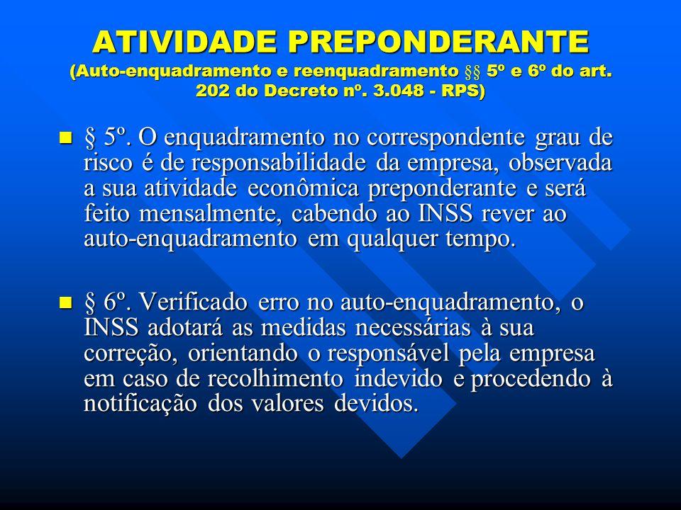 ATIVIDADE PREPONDERANTE (Auto-enquadramento e reenquadramento §§ 5º e 6º do art.
