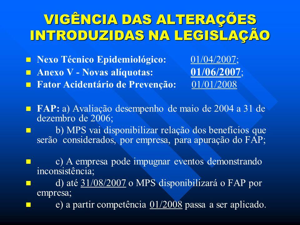 VIGÊNCIA DAS ALTERAÇÕES INTRODUZIDAS NA LEGISLAÇÃO Nexo Técnico Epidemiológico: 01/04/2007; Anexo V - Novas alíquotas: 01/06/2007 ; Fator Acidentário de Prevenção: 01/01/2008 FAP: a) Avaliação desempenho de maio de 2004 a 31 de dezembro de 2006; b) MPS vai disponibilizar relação dos benefícios que serão considerados, por empresa, para apuração do FAP; c) A empresa pode impugnar eventos demonstrando inconsistência; d) até 31/08/2007 o MPS disponibilizará o FAP por empresa; e) a partir competência 01/2008 passa a ser aplicado.