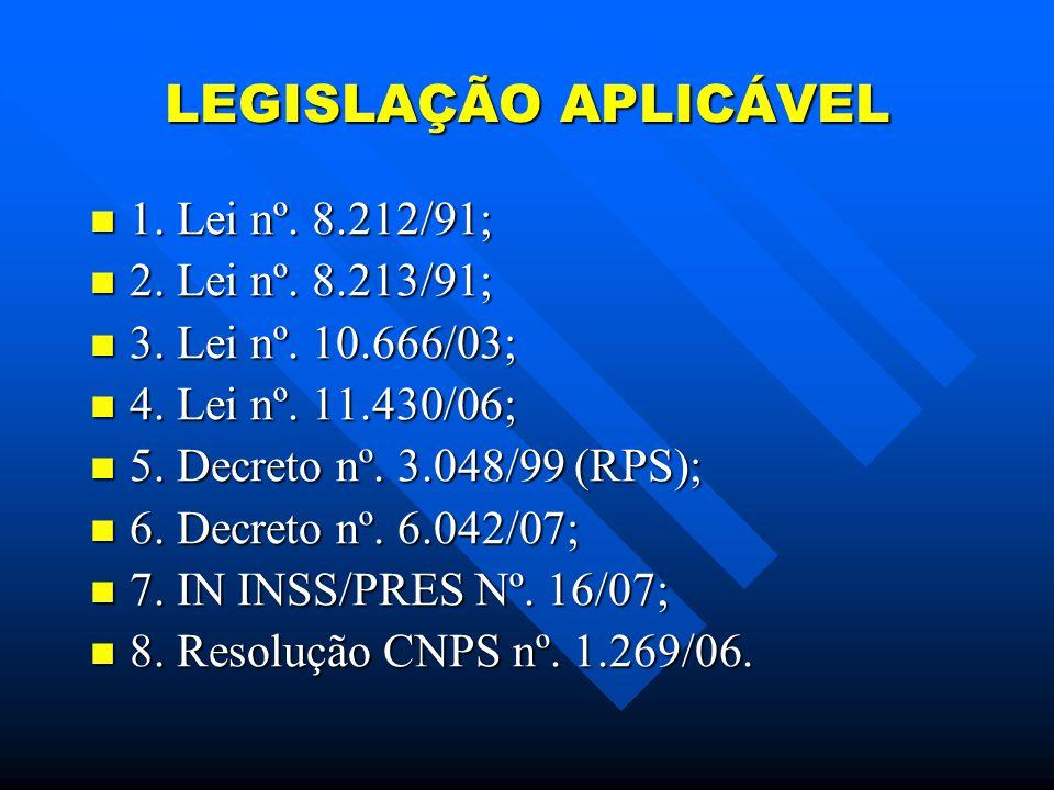 LEGISLAÇÃO APLICÁVEL 1.Lei nº. 8.212/91; 1. Lei nº.